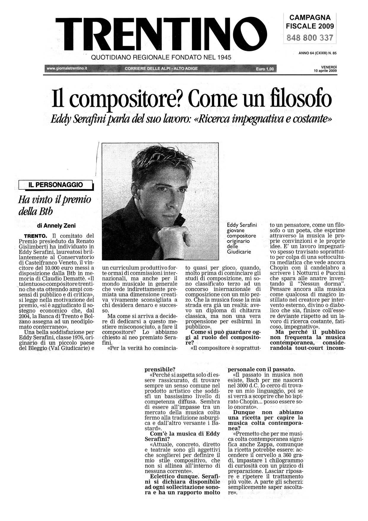 """Il compositore? Come un filosofo. Eddy Serafini parla del suo lavoro: """"Ricerca impegnativa e costante"""" – Trentino – 10/04/2009"""