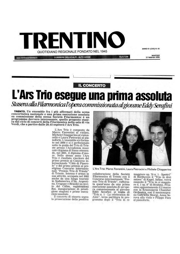 l'Ars Trio esegue una prima assoluta – Stasera alla Filarmonica l'opera commissionata al giovane Eddy Serafini – Trentino – 21/02/2006