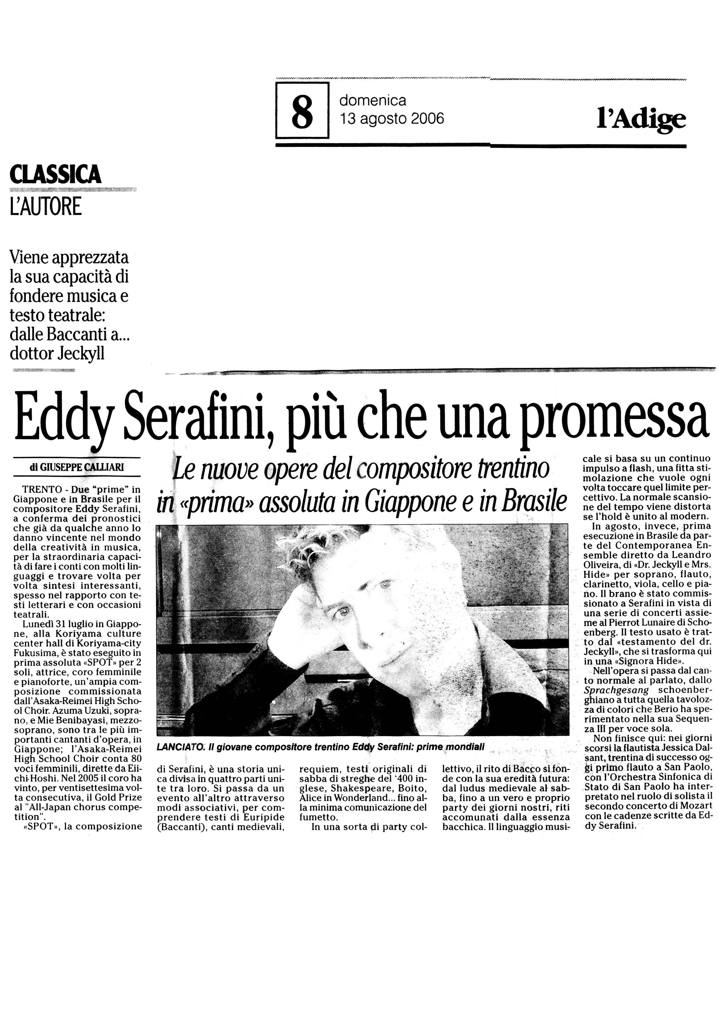 Eddy Serafini, più che una promessa – l'Adige – 13/08/2006