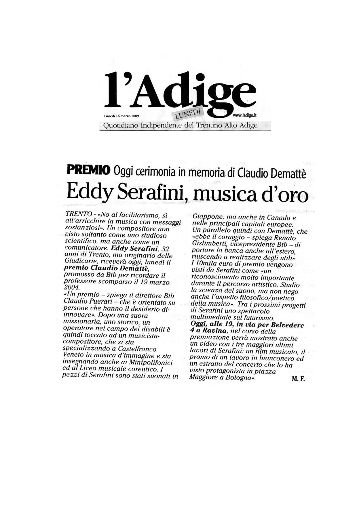 Eddy Serafini, musica d'oro – l'Adige – 16/03/2009