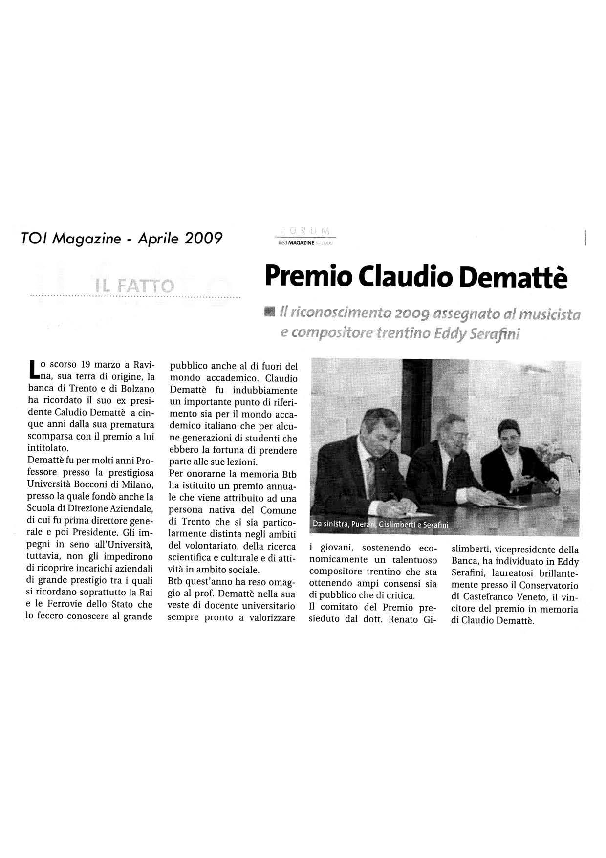 Premio Claudio Demattè – TOI – 04/2009