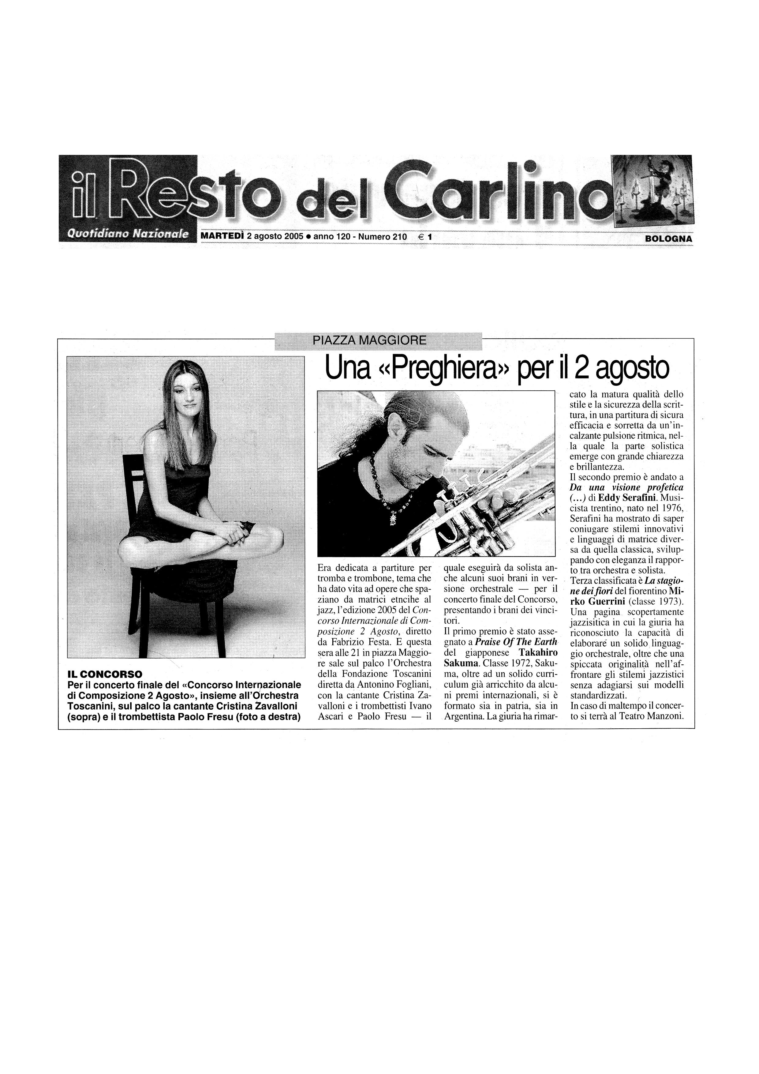 """Una """"Preghiera"""" per il 2 agosto – Il resto del Carlino – 2/08/2005"""