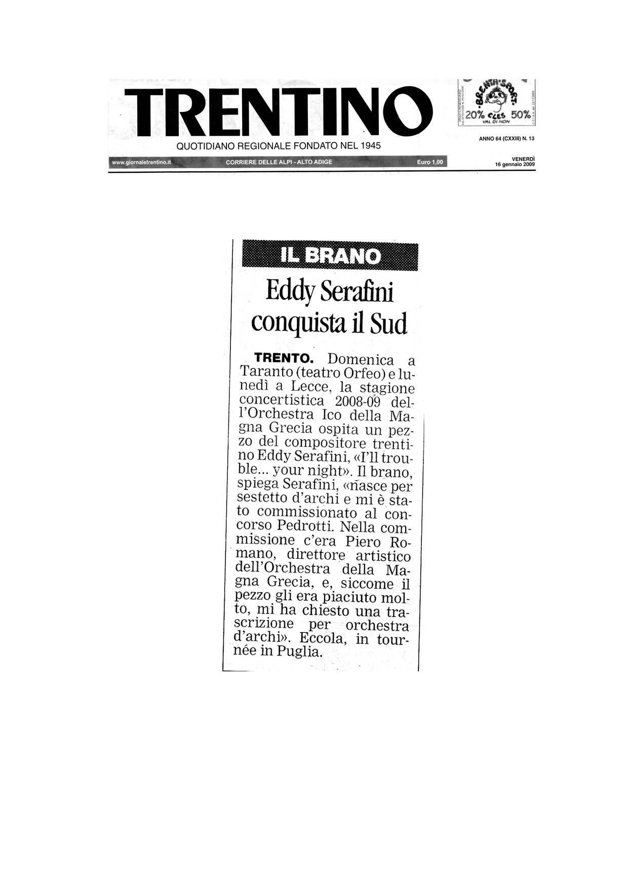 Eddy Serafini conquista il Sud – Trentino – 16/01/2009