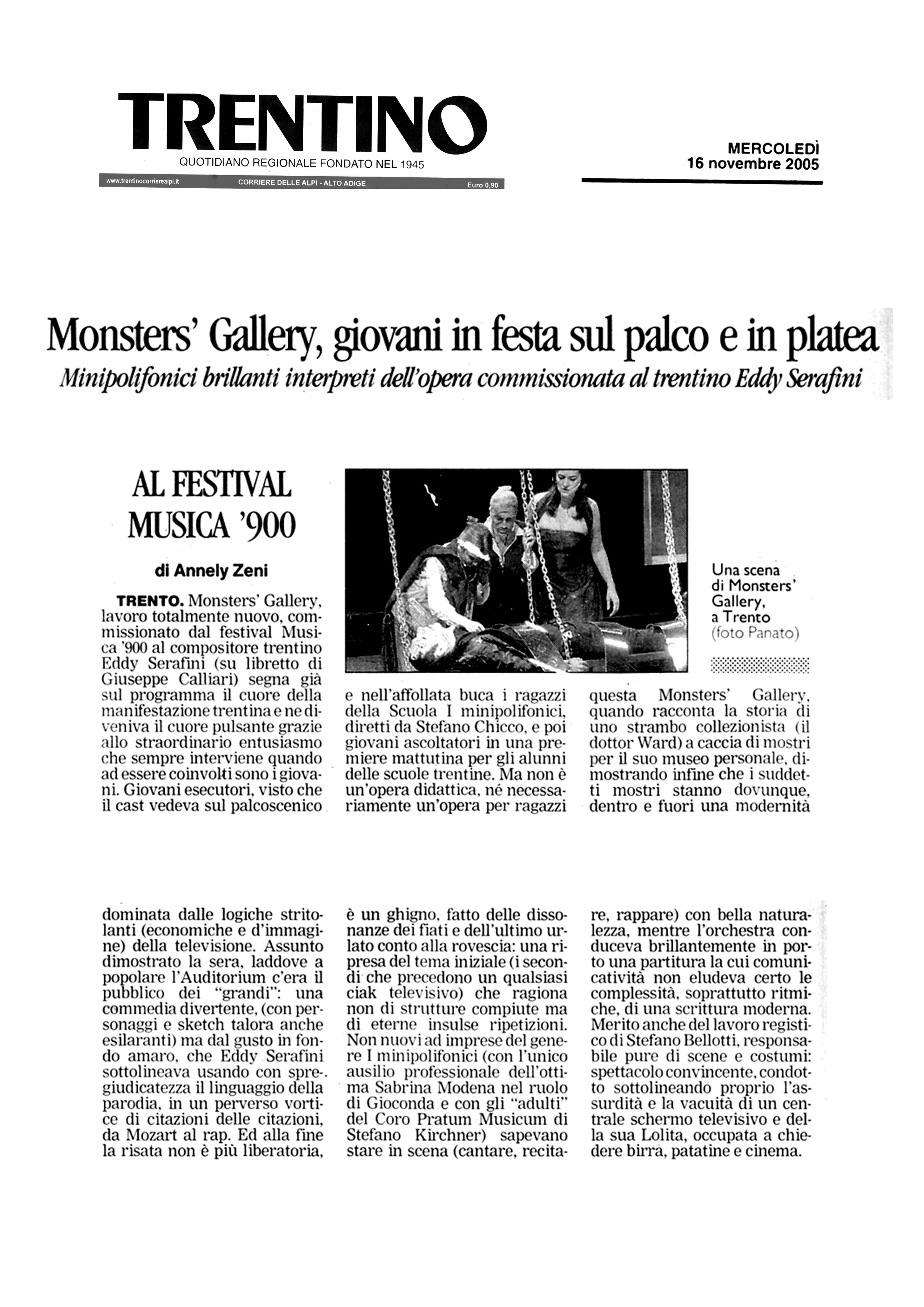 Monster's Gallery, giovani in festa sul palco e in platea – Trentino – 16/11/2005