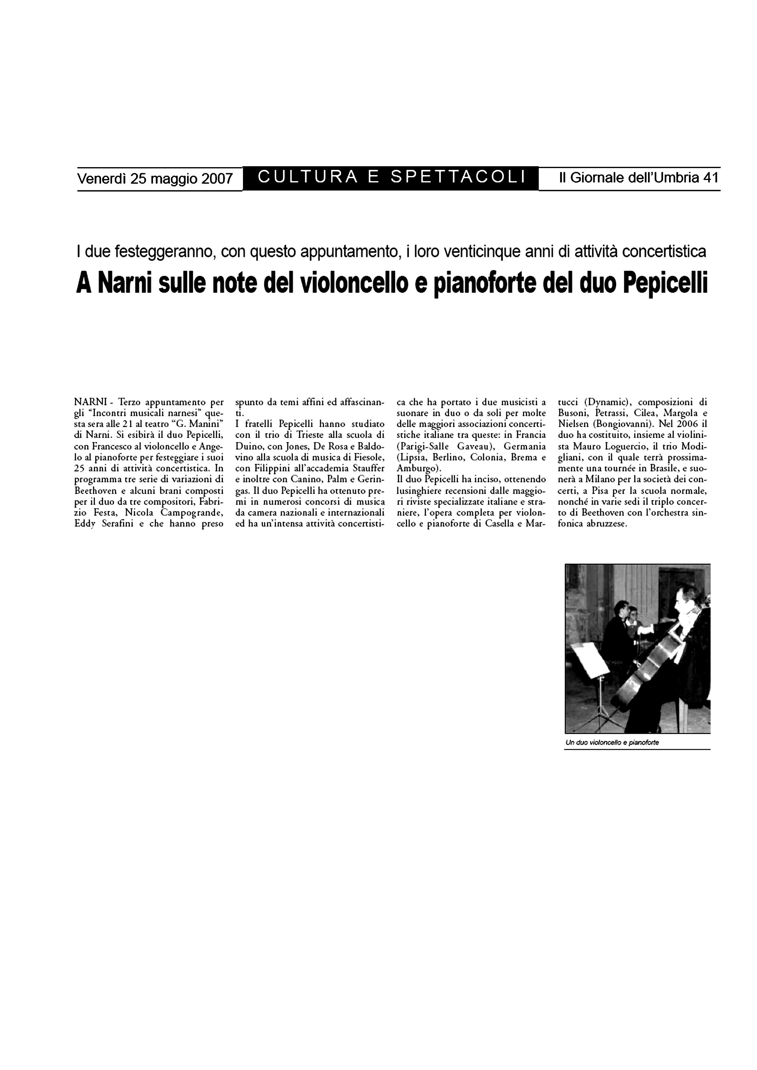 A Narni sulle note del violoncello e pianoforte del Duo Pepicelli – Il Giornale dell'Umbria – 25/05/2007