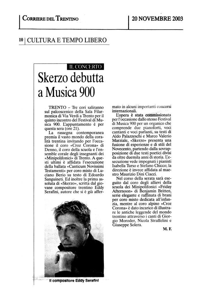 Skerzo debutta a Musica 900 – Corriere del Trentino – 20/11/2003