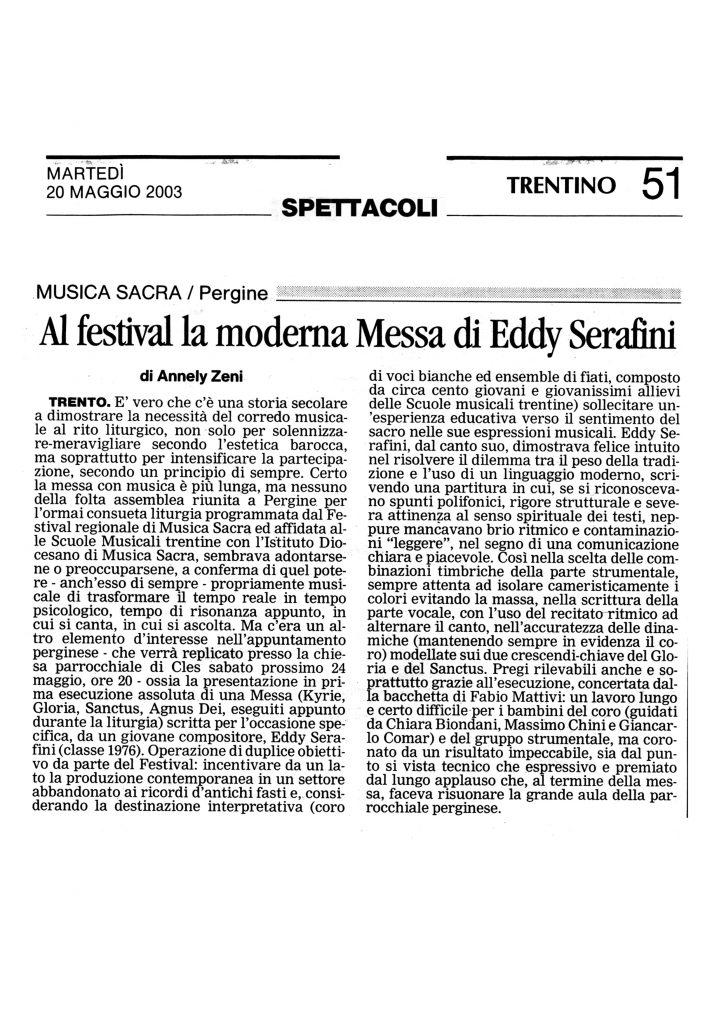 Al festival la moderna Messa di Eddy Serafini – Trentino – 20/05/2003
