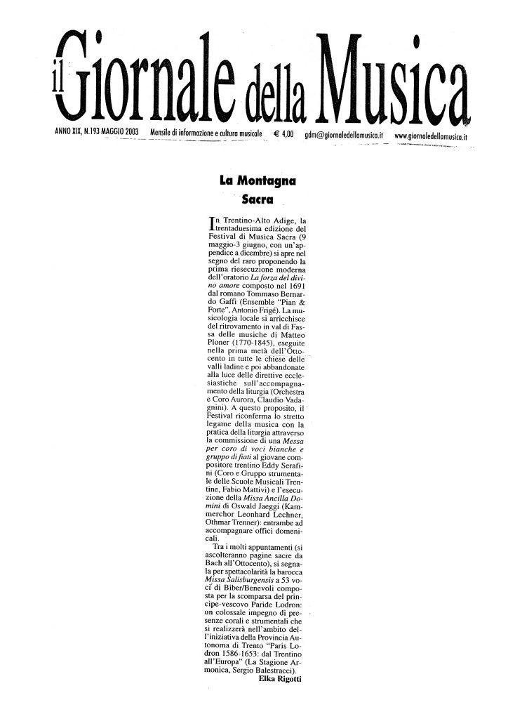 La Montagna Sacra – il Giornale della Musica – 05/2003